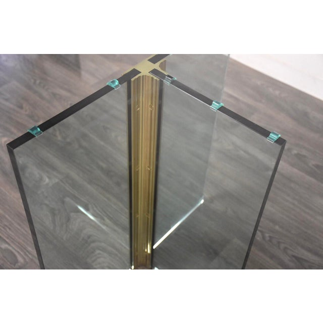 Metal Pace Collection Glass and Brass Modern Dining Table For Sale - Image 7 of 9
