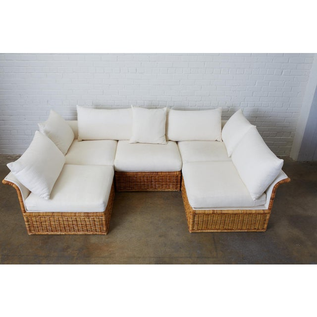 Wicker Michael Taylor Style Rattan Wicker Sectional Sofa For Sale - Image 7 of 13