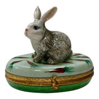 Limoges France Hand Painted Rabbit Box For Sale