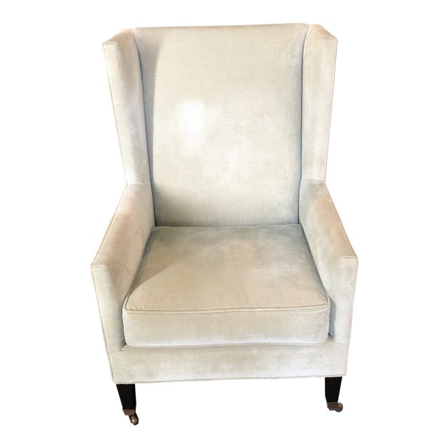 Windsor Smith Corduroy Celadon and Beige Wingback Chairs - a Pair For Sale