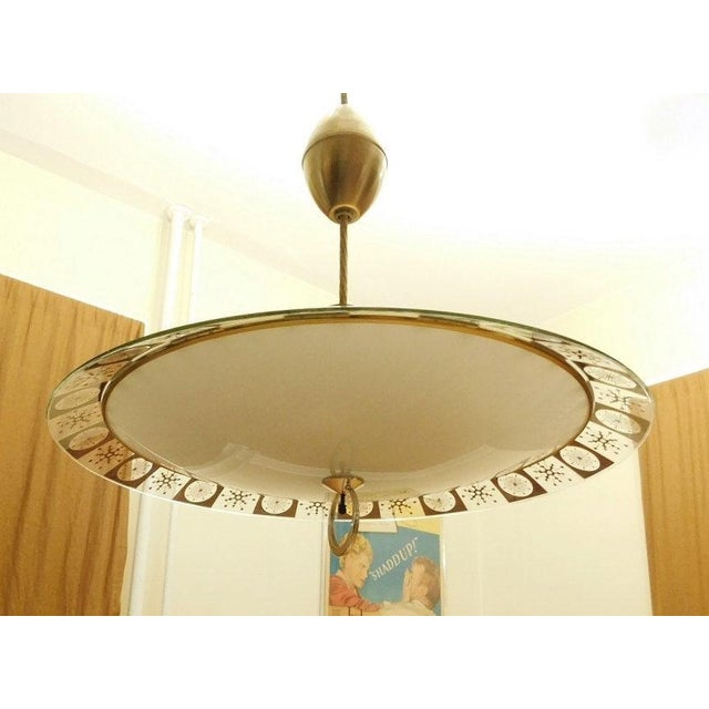 Lightoleir Mid-Century Retractable Atomic Saucer Chandelier - Image 2 of 6