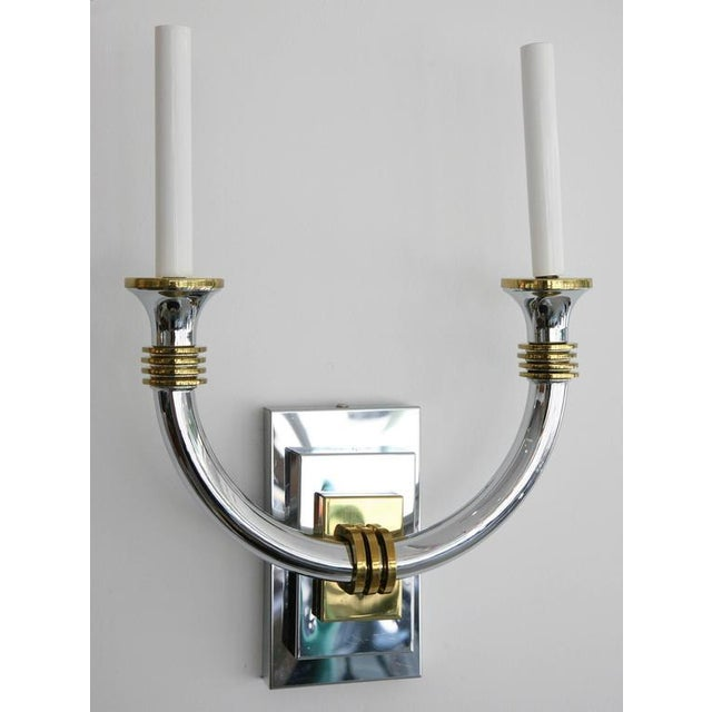 Art Deco Art Deco Chrome and Brass Wall Sconces - a Pair For Sale - Image 3 of 11
