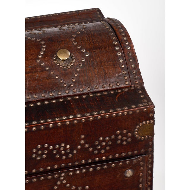 1920s Antique French Napoleon Style Leather and Brass Trunk/Bar For Sale - Image 5 of 11