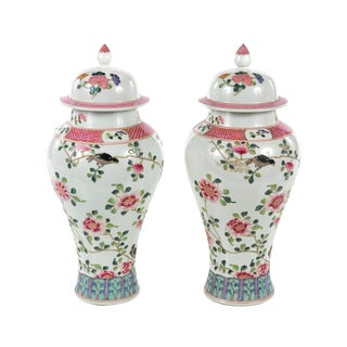 Antique Chinese White & Pink Flowers Lidded Porcelain Vases - A Pair For Sale
