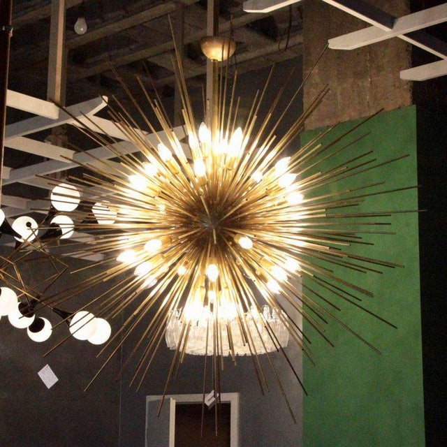 Monumental and impressive brass Sputnik or urchin chandelier. The chandelier is a real eye catcher in every room and it´s...