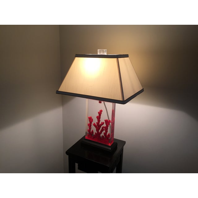 Lucite Red Coral Lamp - Image 7 of 9
