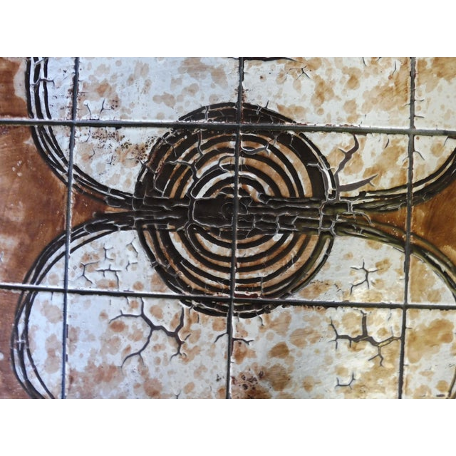 Brown 70's Abstract Painted Tile Top Danish Modern Coffee Table Signed For Sale - Image 8 of 11