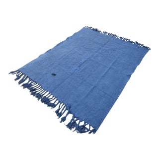 Vintage Turkish Blue Hemp Rug - 5′10″ × 6′8″ For Sale