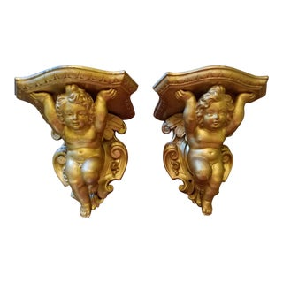 19th Century Italian Barretti Florence Carved Wood Angel Shelves - a Pair