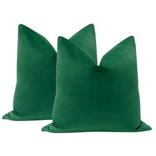 """22"""" Malachite Green Velvet Pillows - a Pair For Sale"""