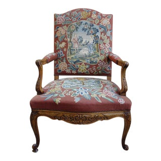 Antique French Louis XV Carved Walnut Tapestry Sheep Fireside Arm Chair For Sale