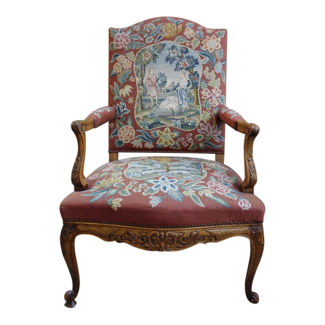 Antique French Louis XV Carved Walnut Tapestry Sheep Fireside Arm Chair For  Sale - Antique French Louis XV Carved Walnut Tapestry Sheep Fireside Arm