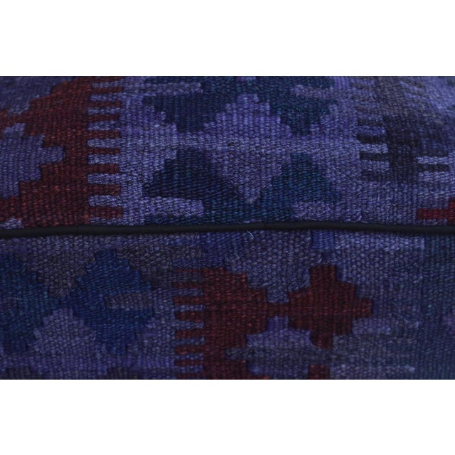 Arshs Delta Purple/Drk. Gray Kilim Upholstered Handmade Ottoman For Sale In New York - Image 6 of 8