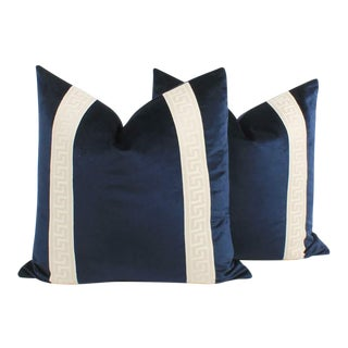 Navy Blue Velvet Greek Key PiIlows, a Pair For Sale
