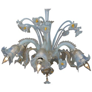 Vintage Italian Mouth Blown Opalescent Venetian Murano Glass Floral Chandelier For Sale