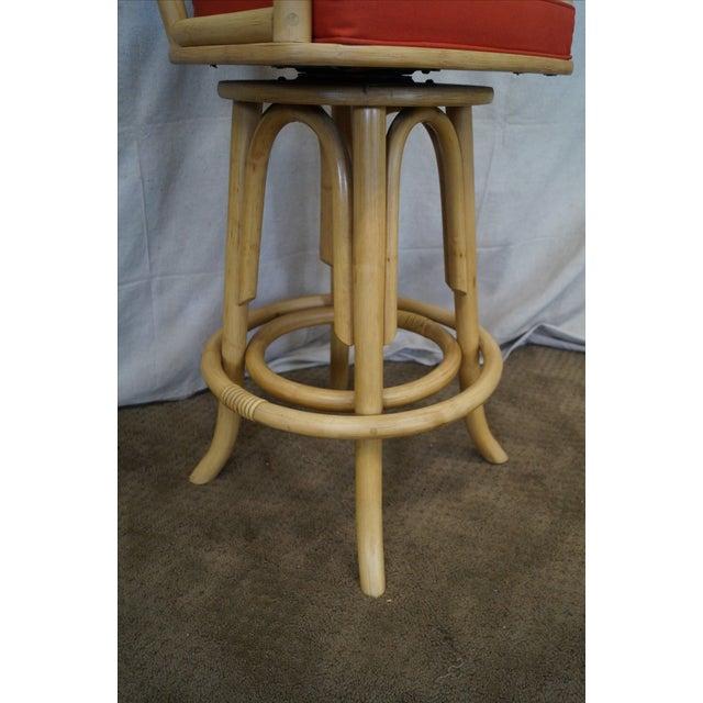 Vintage Bent Bamboo & Rattan Swivel Bar Stools -- Set of 3 - Image 7 of 10