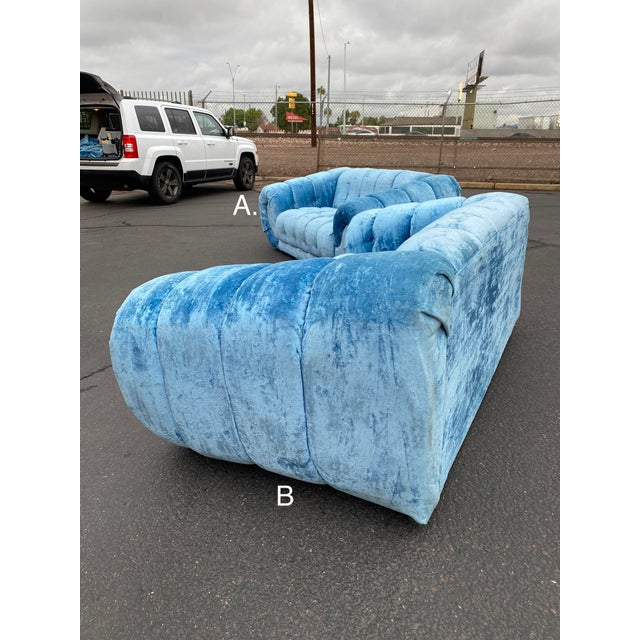 Royal Blue 1970s Hollywood Regency Tufted Curved Sofas - a Pair For Sale - Image 8 of 13