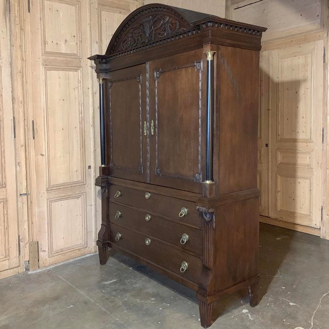 18th Century Dutch Hand Carved Linen Press was designed to store all of one's clothing in style ~ obviously for an...
