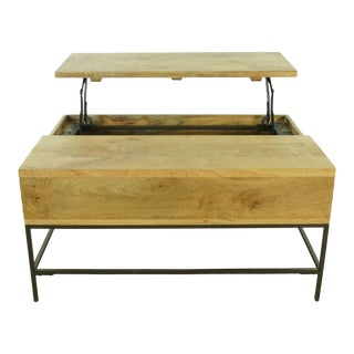 Industrial West Elm Storage Pop Up Coffee Table For Sale