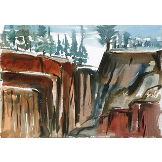 Harold Wallerstein - Rock Formation Watercolor on Paper For Sale