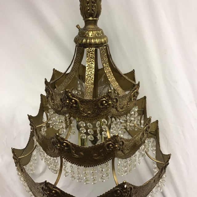 French Gold Tier Swag Lamp Chandelier For Sale - Image 10 of 12