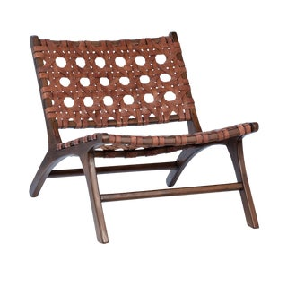 Chestnut Leather Weave Easy Chair For Sale