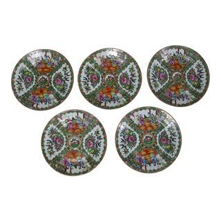 Antique Chinese Qing Rose Medallion Porcelain Nine Inch Plates Set of 5 Im For Sale