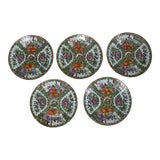 Image of Antique Chinese Qing Rose Medallion Porcelain Nine Inch Plates Set of 5 Imperfect For Sale