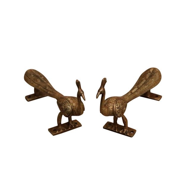 Boho Chic Large Gold Brass Peacock Door Handles - a Pair For Sale - Image 3 of 7