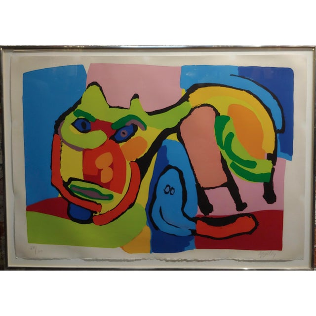 """Karel Appel -1969 Abstract Cat-Original Mid century Lithograph-Signed frame size 28 x 38"""" paper size 25 x 35"""" Limited..."""
