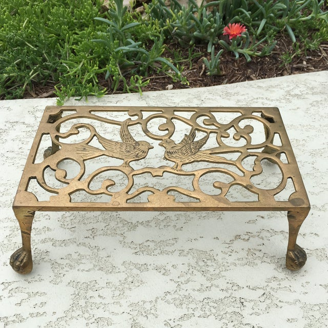 Mid-Century Solid Brass Bird Motif Plant Stand - Image 8 of 11
