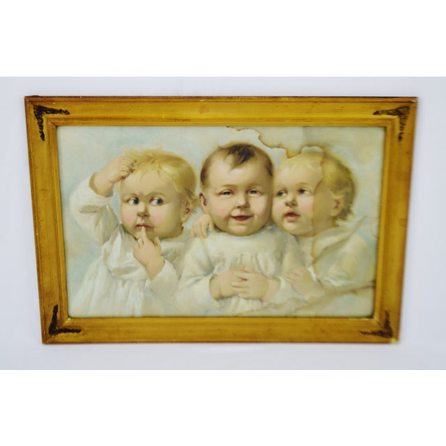 Early Gesso Framed Print of Three Babies - Image 2 of 8
