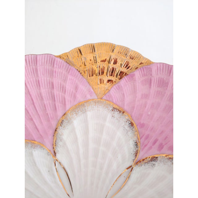 Shabby Chic 1940s Pink and Gold Scalloped Edge Shell Plate For Sale - Image 3 of 7