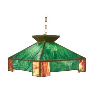 Arts and Crafts Craftsman Triple Cluster Metal and Slag Glass Light Fixture For Sale