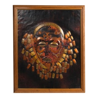 Metal Tribal Mask Framed Wall Hanging For Sale