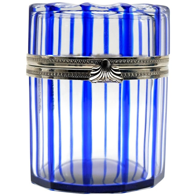 Cristal Benito Cobalt Blue and Cut Crystal Lidded Box, France For Sale - Image 9 of 9
