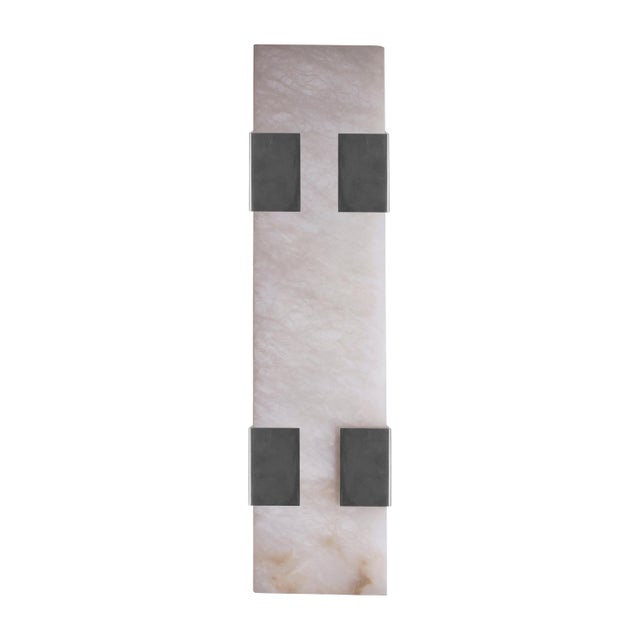 Orphan Work Contemporary 003-4c Sconce in Brushed Nickel and Alabaster by Orphan Work, 2018 For Sale - Image 4 of 4