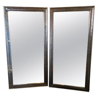 Pair of Moroccan Hollywood Regency Large Wall / Floor Pier Silver Metal Mirrors For Sale