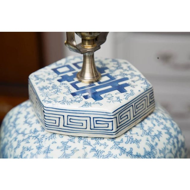Hexagon Chinese Lidded Jars as Table Lamps- A Pair For Sale - Image 4 of 6