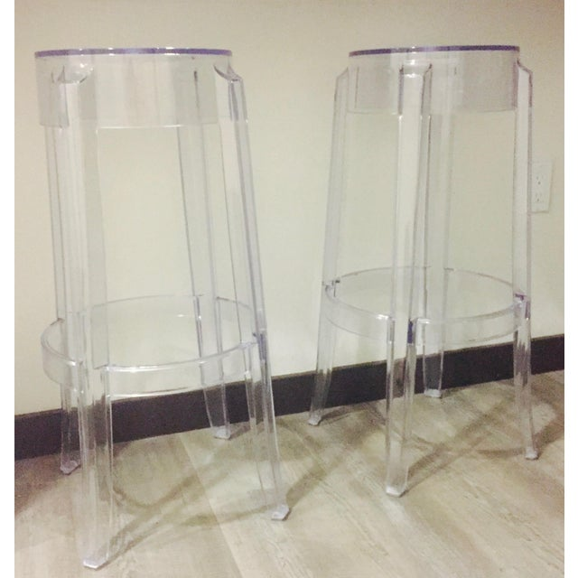 "Klipper ""Ghost"" Clear Acrylic Modern Bar Stools - A Pair - Image 6 of 6"