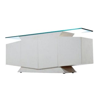 White and Pink Lacquer Postmodern Memphis Style Glass Top Credenza Preview