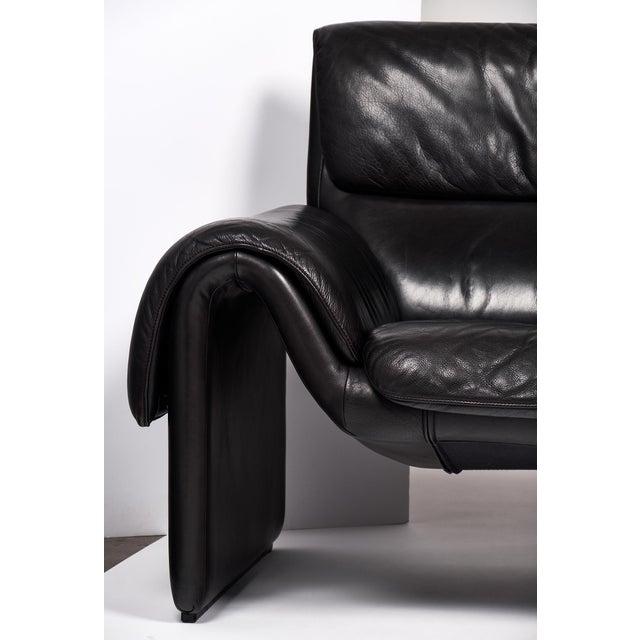 Vintage de Sede Black Leather Sofa For Sale In Austin - Image 6 of 10