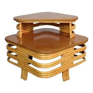 1960s Vintage Paul Frankl Bamboo Step Corner Table For Sale
