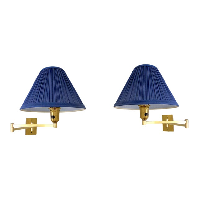 Vintage Double Swing Arm Brass Wall Lamps in the Manner of Hinson - a Pair For Sale