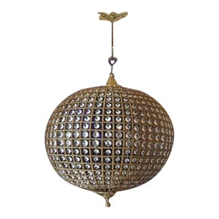 French Louis XVI Style Sphere Jumbo Chandelier in Gold