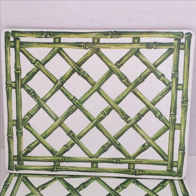 English Melamine Bamboo Lattice Motif Trivets - Image 3 of 6