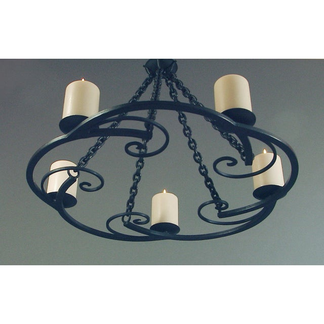 Art Deco 1920s Wrought Iron Art Deco Chandelier With Beeswax Candles For Sale - Image 3 of 8