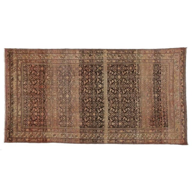 Antique Persian Malayer Rug with Modern Design and Industrial Aesthetic For Sale In Dallas - Image 6 of 7