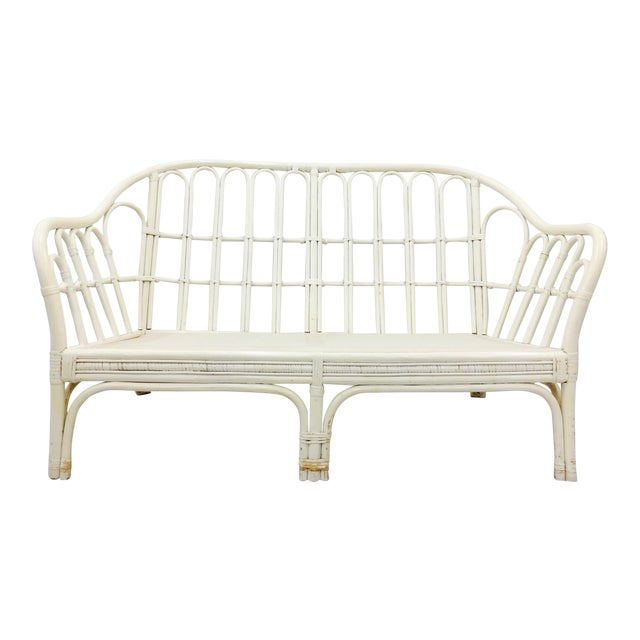 Vintage Rattan Love Seat Sofa For Sale