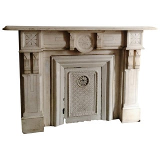 1880's White Marble Mantle With Corbel Detail